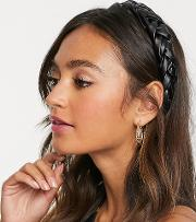 Leather Look Plaited Wide Headband