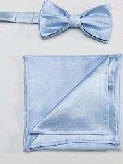 plain satin dusty blue bow tie and pocket square