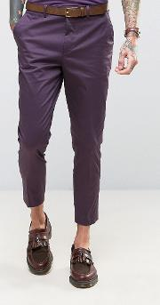 skinny fit purple cotton sateen cropped suit trousers