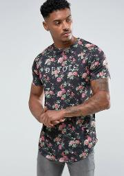 floral print  shirt with curved hem