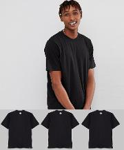 3 pack t shirts in black