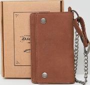 deedsville leather wallet with chain  brown