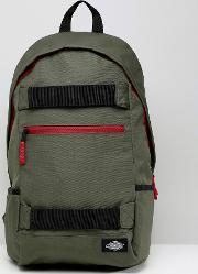 ellwood city back pack with skate straps in green