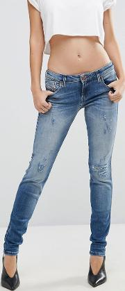 gracey low waist skinny jean with ripped knee