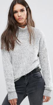 High Neck Jumper With Knit Overlay