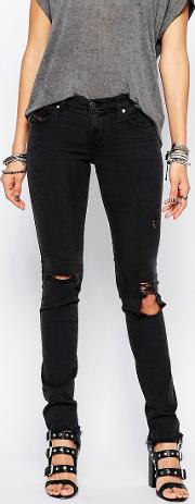 skinzee low rise super skinny jeans with distressing