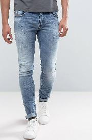 Sleenker Skinny Jeans All Over Distressed Limited Edition