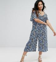 Plus Culotte Jumpsuit With Frill Detail And Cold Shoulder