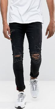 jeans super skinny spray on  with busted ripped knees  black