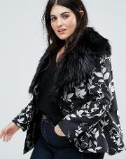 Premium Embroidered Jacquard Aviator Biker Jacket With Fluffy Collar Detail