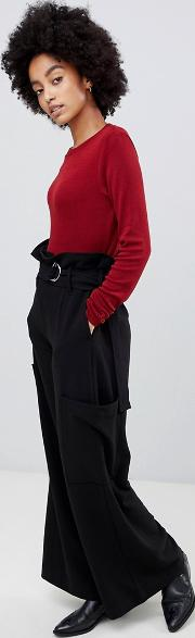 highwaisted utility trouser with belt