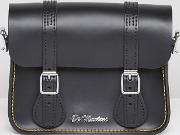 7 Inch Black Leather Satchel