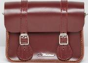 7 Inch Red Leather Satchel