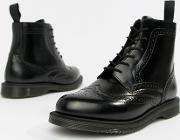 Delphine Brogue Leather Lace Up Flat Ankle Boots