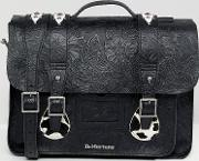 embossed leather satchel 15 inch