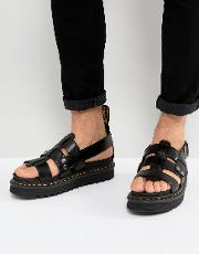terry strap sandals in black