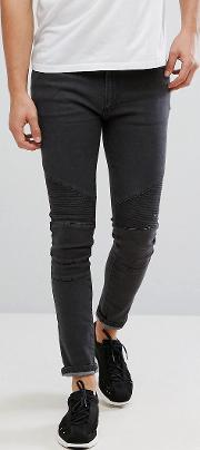 D Struct Biker Jeans In Washed Grey