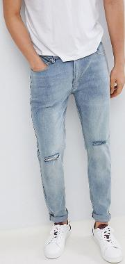 d struct skinny washed knee rip jeans