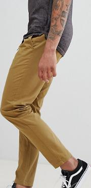 d struct tall elastic waist cropped chino trousers