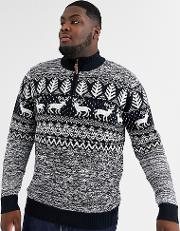 King Size Fairisle Christmas Jumper With Zip Neck