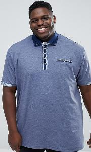 King Size Polo Shirt With Contrast Collar