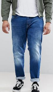 King Size Tapered Fit Jeans Dark Stonewash With Stretch