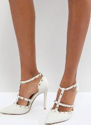 Dune London Bridal Studded Court Shoe With Pointed Toe And Caging Detail