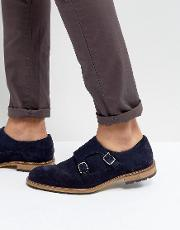 Monk Shoes In Navy Suede