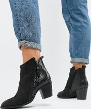 Dune London Wide Fit Pontoon Leather Western Mid Heel Ankle Boots With Side Zip Detail