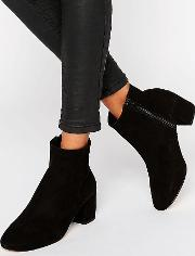 Pebble Black Suede Heeled Ankle Boots