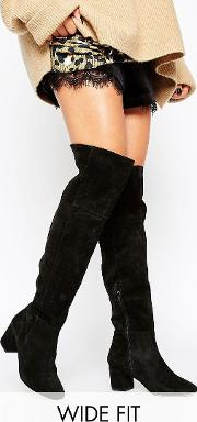 samba black suede over the knee boots