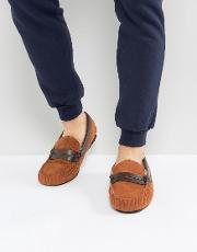 Loafer Slippers In Tan Suede