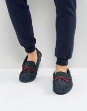 moccasin slippers  navy suede