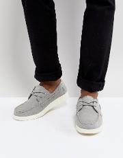 popham two eye boat shoe in grey