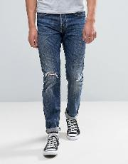 80 Slim Tapered Jeans Contrast Dark Wash Rips