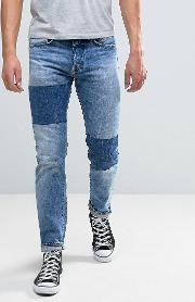 80 Slim Tapered Jeans Light Sheild Wash Dye Patches