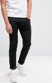 85 Slim Stretch Tapered Drop Crotch Jeans Black Wash White Selvedge
