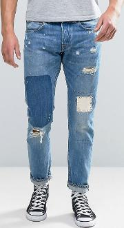 ed 55 regular tapered jeans pulled wash rainbow selvedge rip and repair