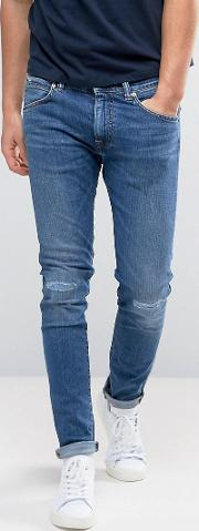 ed 85 slim tapered drop crotch jeans baroque wash knee rips