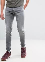 ed 85 slim tapered drop crotch jeans very light trip used wash