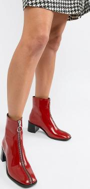 e8 by miista red patent leather front zip heeled boots