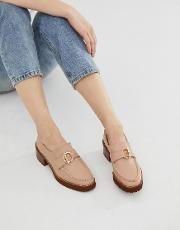 E8 By Miista Taupe Leather Stacked Heeled Chunky Loafers With Hardware Detail