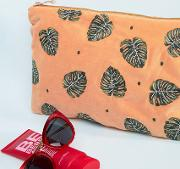 t jungle leaf copper velvet travel pouch 20 x 30cm