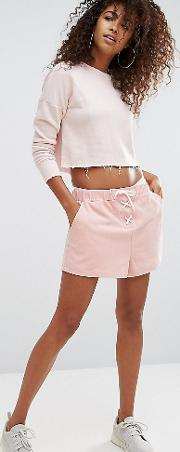 Boyfriend Shorts With Lace Up Detail And Tonal Side Logo