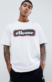 heroni oversized bar logo t shirt in white
