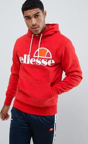 hoodie with large logo in red