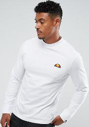 Long Sleeve T Shirt With Large Logo In White