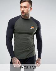 muscle fit long sleeve  shirt with small logo