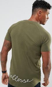 Muscle Fit  Shirt With Curved Hem Script Logo In Green