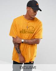 oversized t shirt with large logo in gold